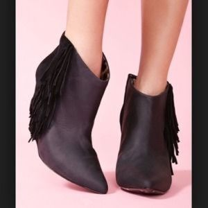 Betsey Johnson Ziah Leather & Suede Fringe Bootie